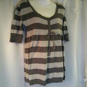 It's Our Time Knit Striped Peplum Blouse, XL